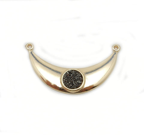 Druzy Blue Oval Station Connector Charm Bezel Link Gold Vermeil double bail 10mm x 12mm