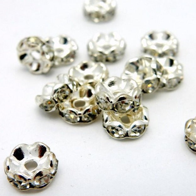 Silver Plated Rhinestone Pave Round Spacer Bead 10pcs