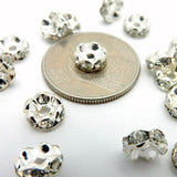 10pcs - Silver Plated Rhinestone Pave Round Spacer Bead - BULK LOT OF 10 - (S41B16-01)