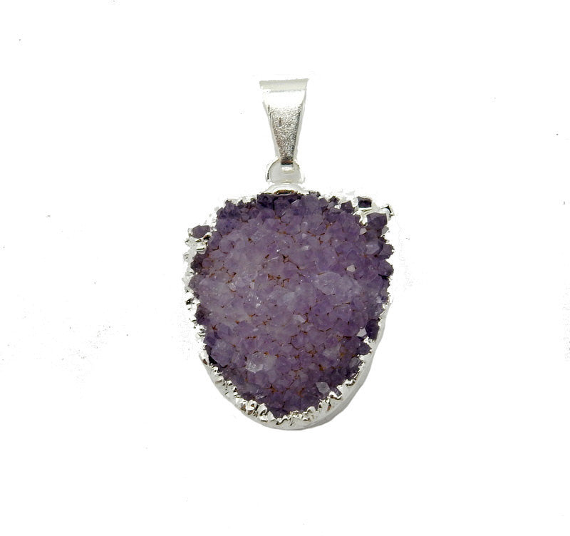 Druzy Shield Pendant with Electroplated Silver Edge (S95B5-03)