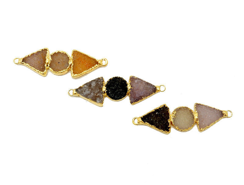Triple Druzy Double Bail Pendant -- Double Druzy Triangle with Round Druzy Center Pendant with Electroplated 24k Gold Edge (S95B5-02)