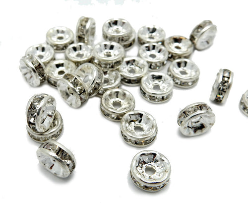 Silver tone Rhinestone Pave Round Spacer Bead