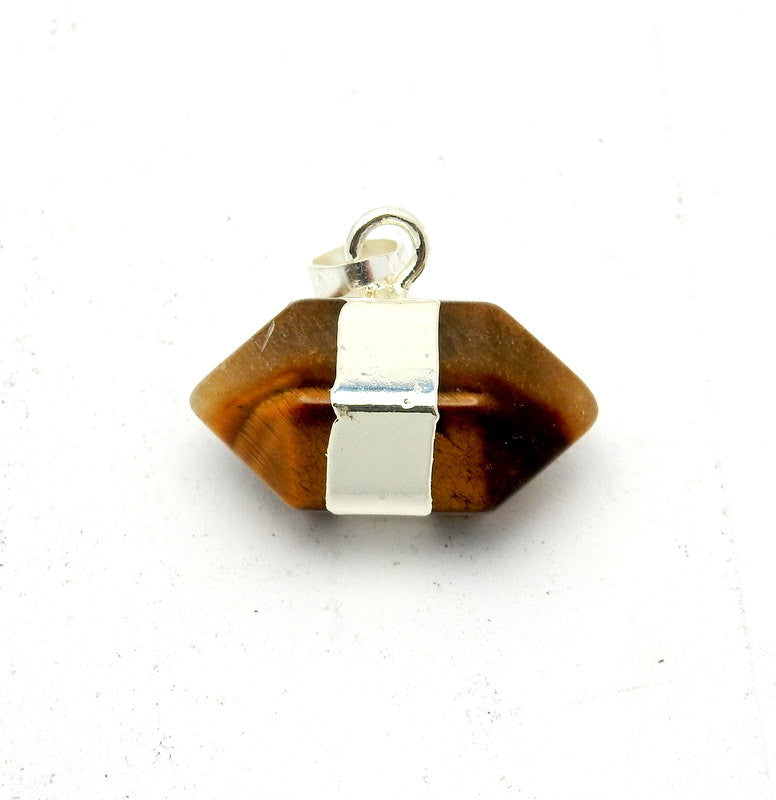Tiger Eye Nugget Pendant with Electroplated Silver  Edge Double Terminated Point (S95B5-13)