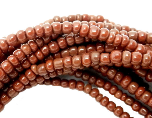 Dark Brown Nigerian Fulaai Glass Round Beads- FULL STRAND