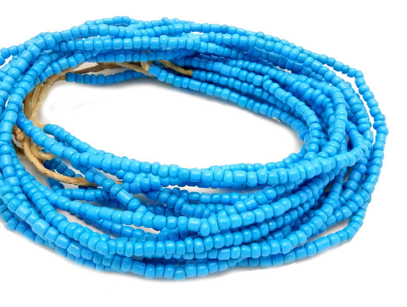 Blue Nigerian Fulaai Glass Round Beads- FULL STRAND
