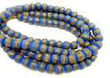 Ghana Korobo Blue/Brown Round Beads-- FULL STRAND (MNH-112)