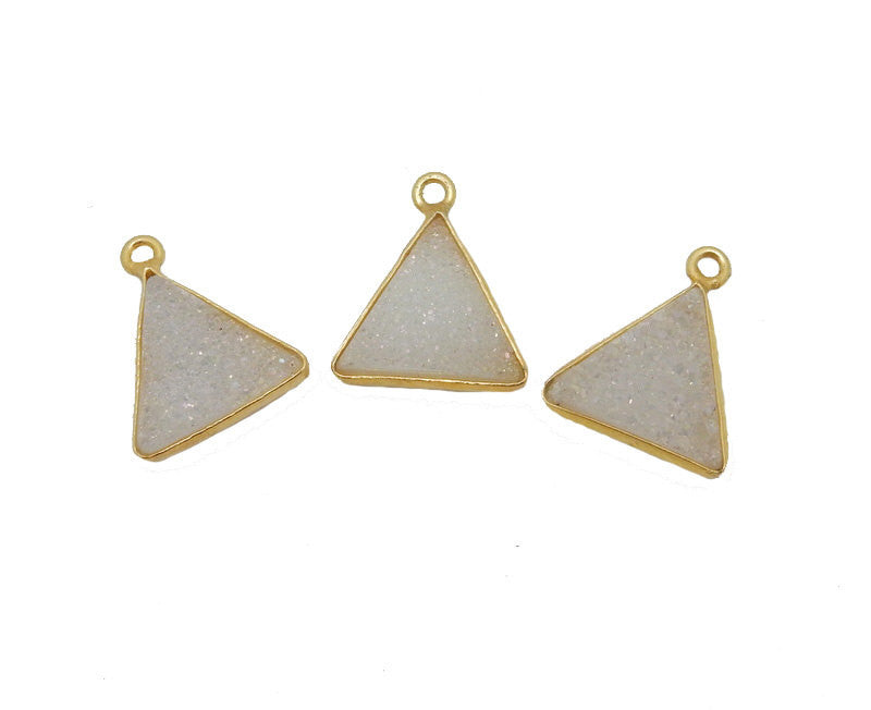 White Shimmer Druzy Triangle Pendant -- 12mm Gold Plated Bezel (S8B14-10)