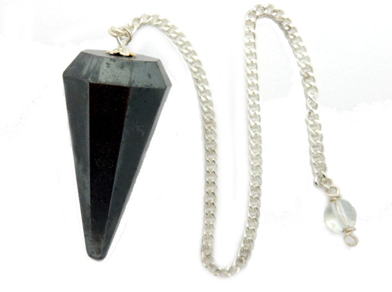 Hematite Point Pendulum Pendant on a Silver Plated Chain (S95B7-09)