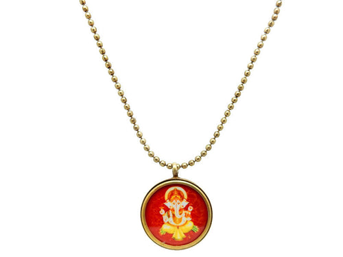 "HUGE Clearance Ganesha Brass 31"" Necklace (S55B21)"