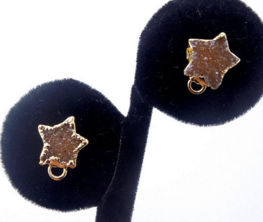 Druzy Quartz Stars Stud Earrings with Loop-  Available in Electroplated 24k Gold (S15B6-04)
