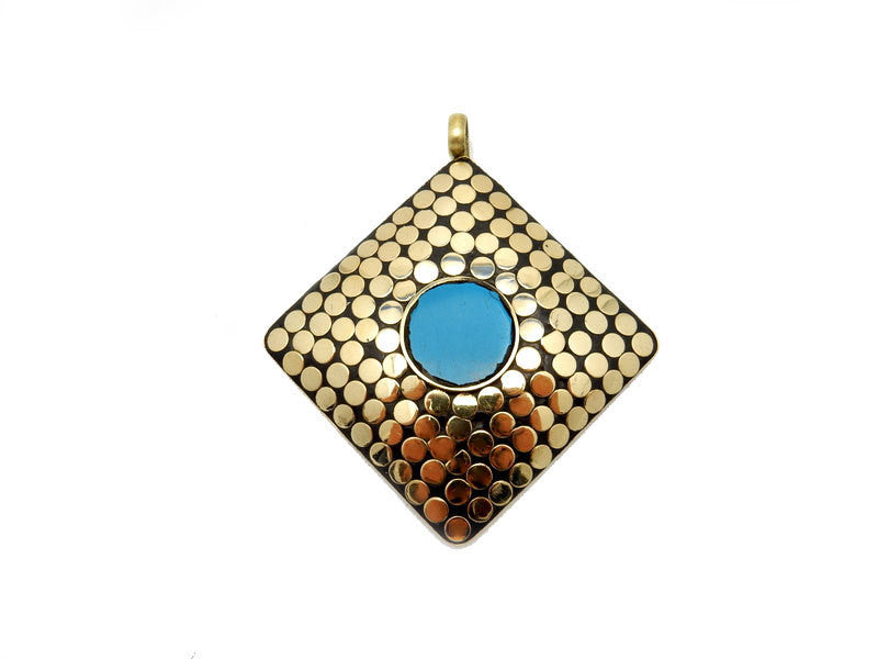 LARGE Tibetan Brass Square Mosaic Pendant with Turquoise Accent.  (S51B6-03)