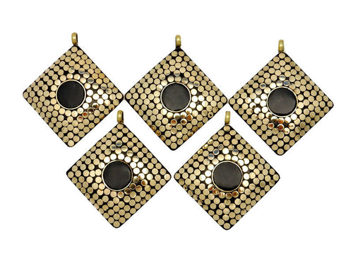 Brass Square Mosaic Pendant with Black Onyx Accent.  (S51B6-02)