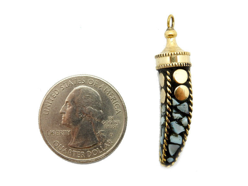 Tibetan Style Petite Mother of Pearl Mosaic Horn Pendant With Brass Accents And Cap.