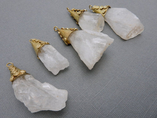 Tibetan Style Freeform Crystal Quartz Pendant with Brass Cap and Bail (S51B10)
