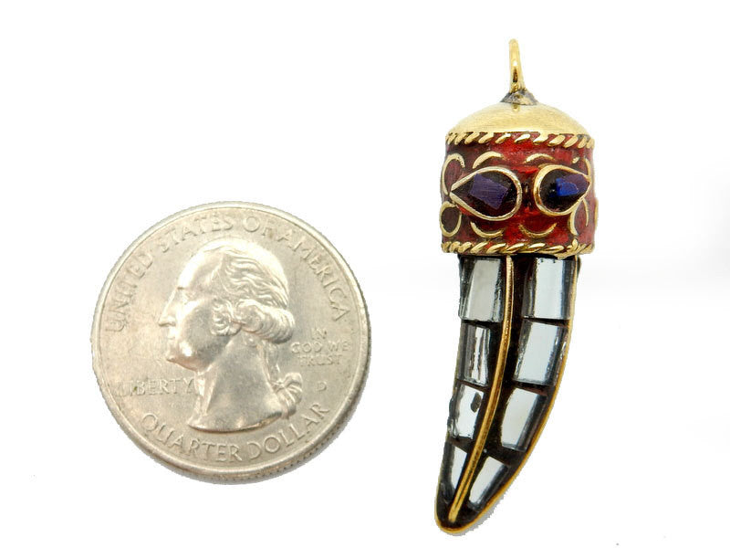 Tibetan Mosaic Mirror Tusk Horn Pendant with Brass/Red Coral Cap with Small Lapis Lazuli Accent