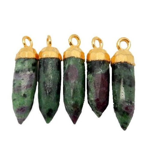 Ruby Zoisite Petite Spike Pendant Charm with 24k gold electroplated cap