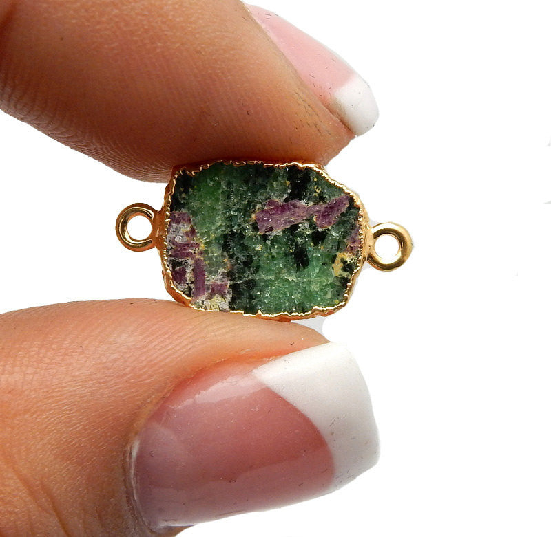 Ruby Zoisite Petite Freeform Double Bail Connector Charm Pendant with 24k Gold Electroplated Edge (S52B13b-11)