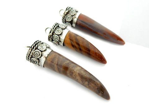 Brown Agate Horn Pendant With Silver Toned Brass Cap.