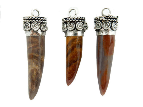Tibetan Brown Carved Bone Horn Pendant with Engraved Brass Cap
