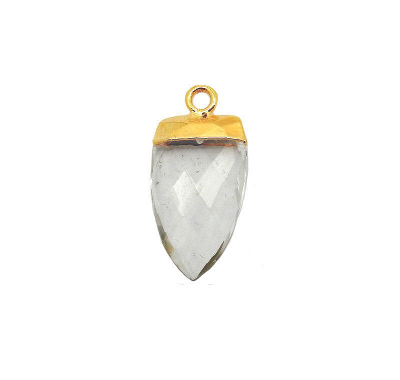 Crystal Quartz Spear Pendant with 24k Gold Electroplated Cap and Bail (S52B13b-02)