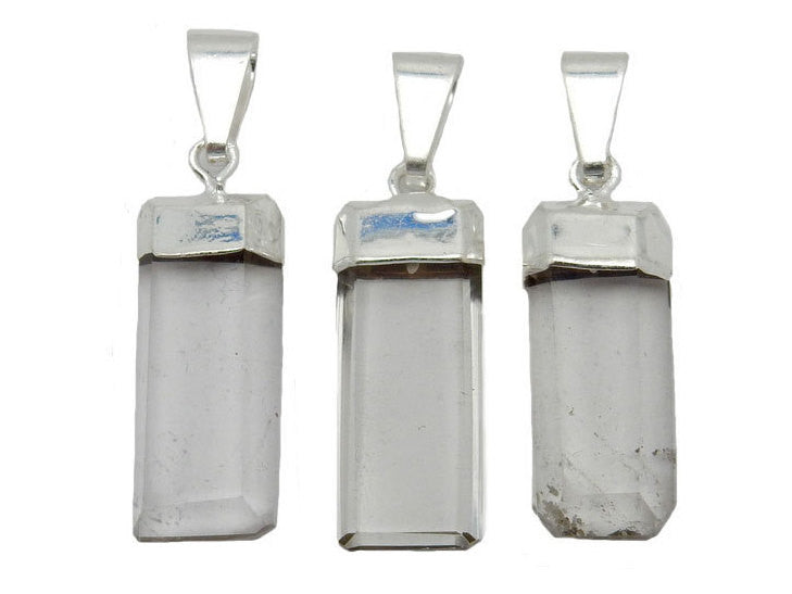 Petite Crystal Quartz Rectangle Pendant with Electroplated Silver Cap. (S52B12b-02)