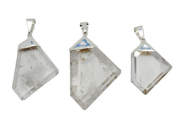 Fancy Crystal Quartz  Pendant with Electroplated Silver Cap. (S52B12b-08)