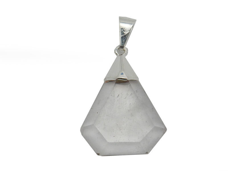 Fancy Crystal Quartz Pentagon Pendant with Electroplated Silver Cap. (S52B12b-09)