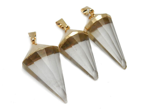 Fancy Spike Crystal Quartz Pendant with Electroplated 24k Gold Cap. (S52B12b-11)