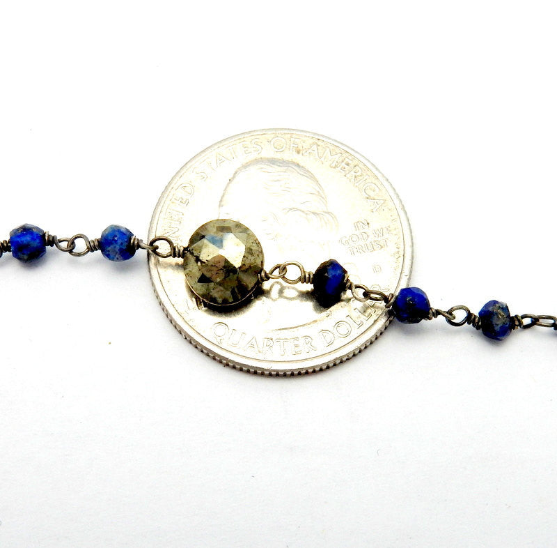 Lapis Lazuli and Round Pyrite Wire-Wrapped Chain-- Rosary style Black Polish Sterling Silver Chain-- PER FOOT (CHN-570)