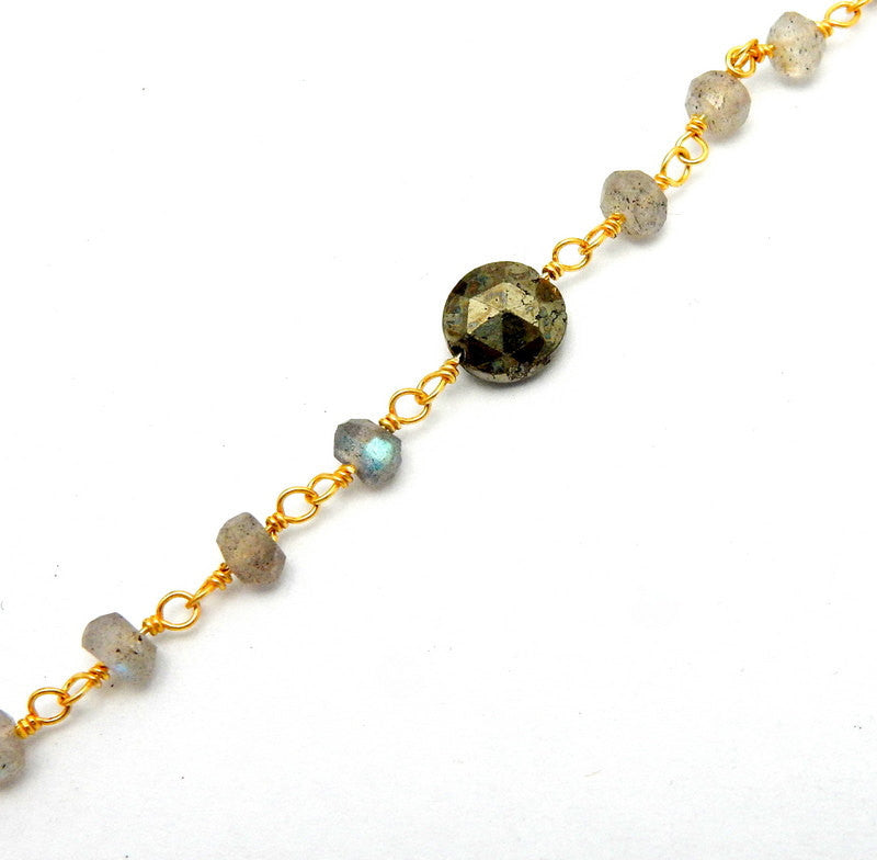 Labradorite and Round Pyrite Wire-Wrapped Chain-- Rosary style Gold Over Sterling Silver Chain-- PER FOOT (CHN-573)