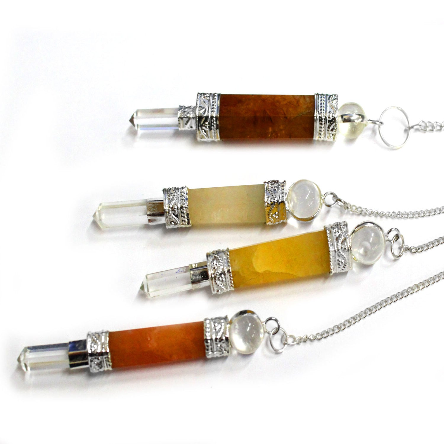 Gold Quartz Point Pendulum with Silver Tone Crystal Quartz Embedded Bail and Chain  - Gold Quartz Pendulum S54B15