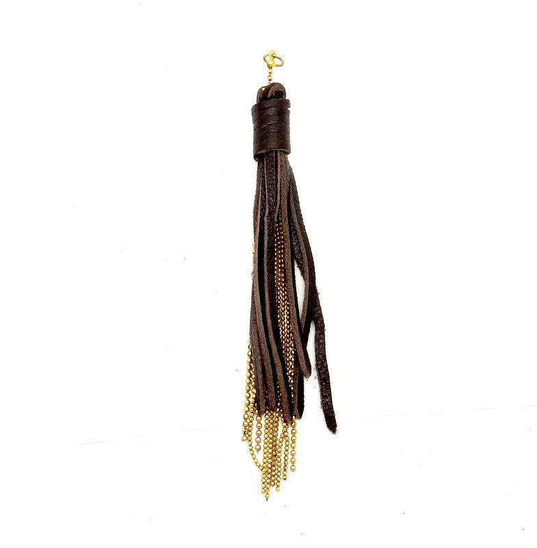 Tassel Pendant-- Leather Strand Tassle with Gold Toned Chain Accents -- Tassel Pendant