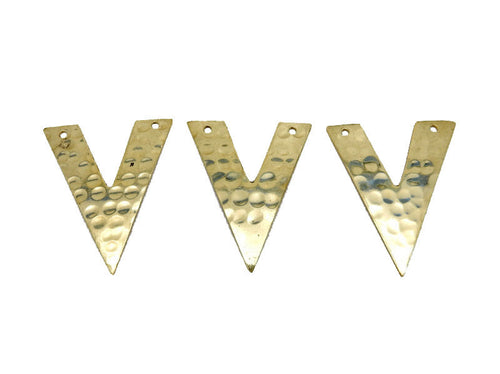 "Hammered Brass ""V"" Shaped Double Drilled Pendant  (S52B17b-02)"