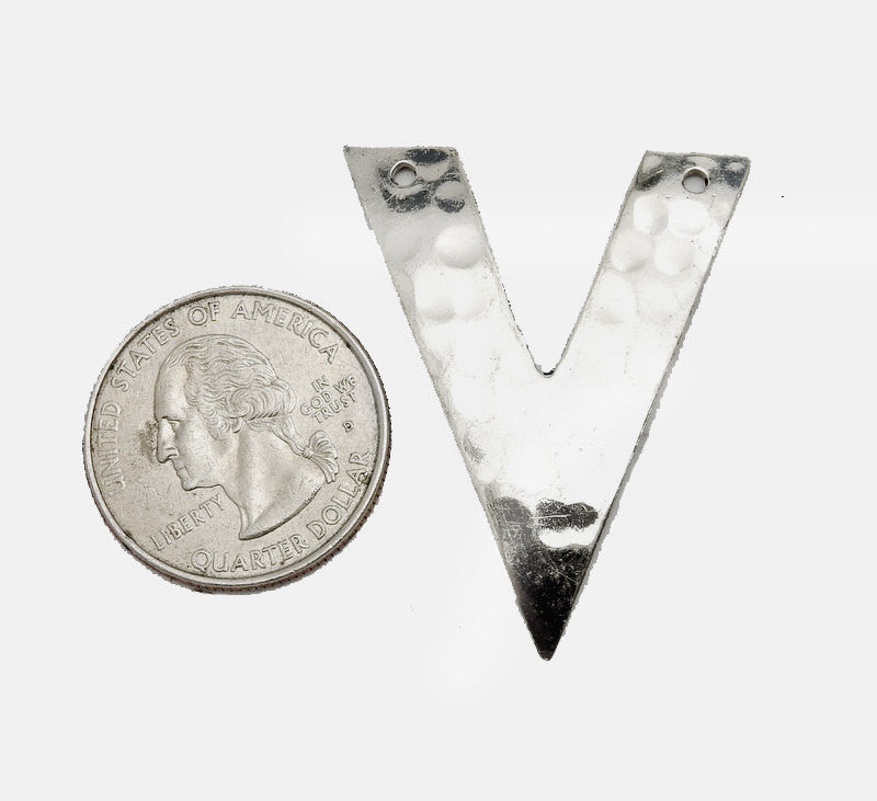 "Hammered Silver Toned ""V"" Shaped Double Drilled Pendant (S52B17b-03)"