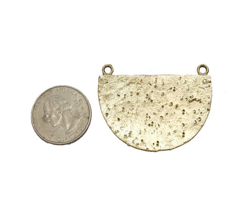 Hammered Brass Half Circle Shaped Double Bail Pendant  (S52B17b-04)