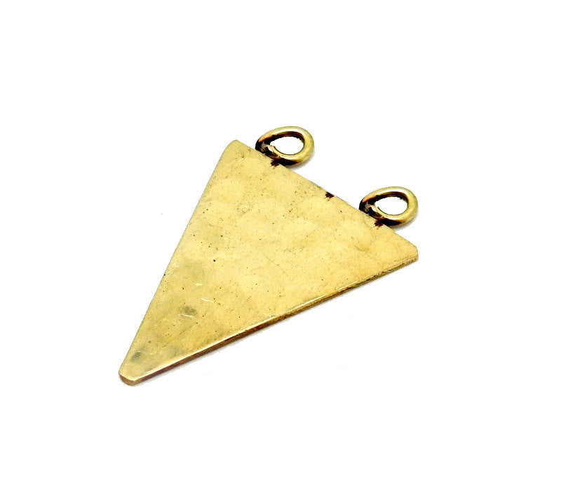 Hammered Brass Triangle Double Bail Pendant (S52B14b-01)