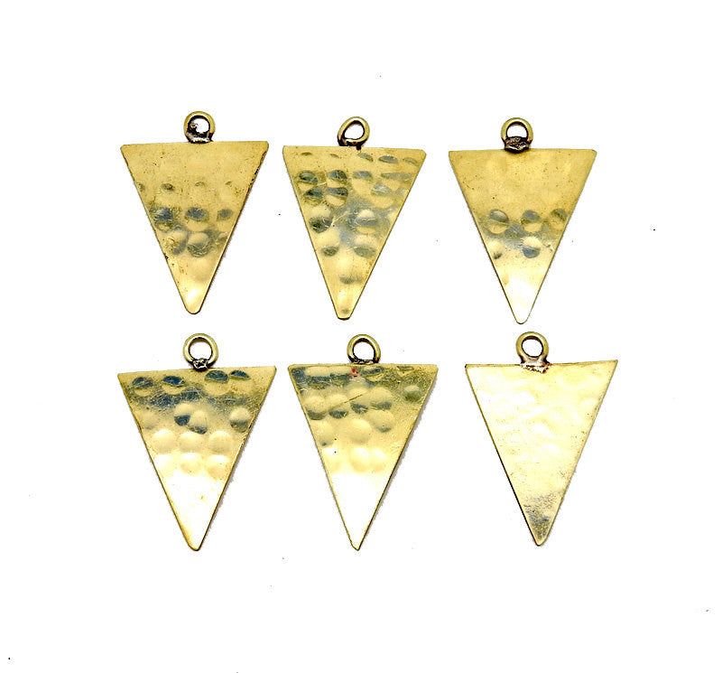 Hammered Brass Large Triangle Pendant (S52B15b-06)