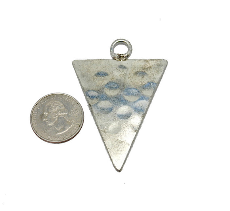 Hammered Silver Toned Large Triangle Pendant  (S52B15b-05)