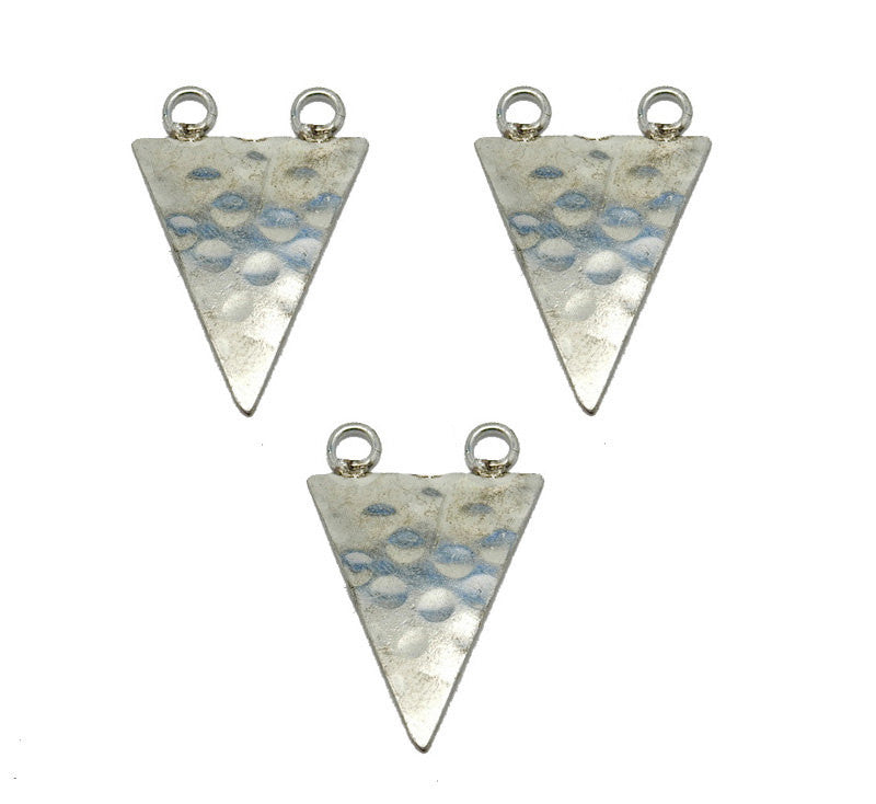 Hammered Silver Toned Large Triangle Double Bail Pendant  (S52B15b-02)