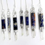 Sodalite Point Pendulum with Silver Tone Crystal Quartz Embedded Bail and Chain - Sodalite Pendulum S54B11-02
