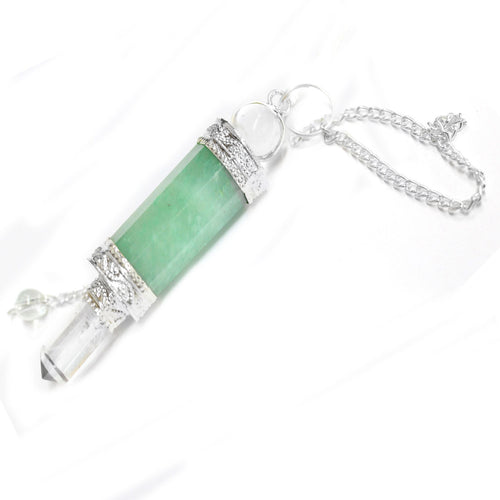 Green Aventurine Point Pendulum with Silver Tone Crystal Quartz Embedded Bail and Chain  - Green Aventurine Pendulum S54B12