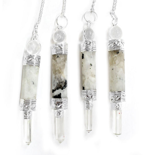 Moonstone Point Pendulum with Silver Tone Crystal Quartz Embedded Bail and Chain - Moonstone Pendulum S54B21a