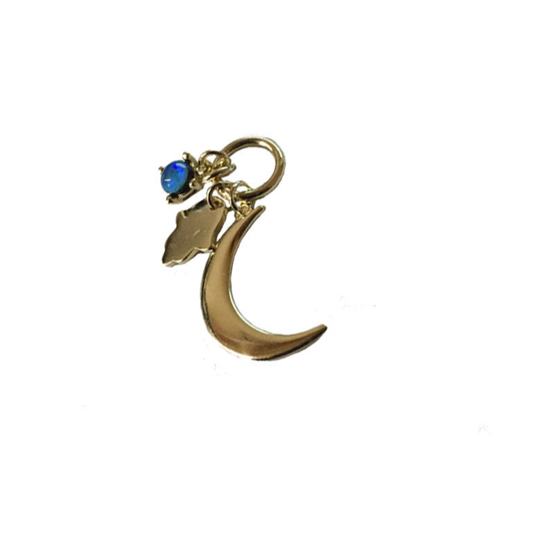 Gold Over Sterling Silver Crescent Moon Pendant with Blue Opal and Hamsa Hand Dangling Accents (LA-117)