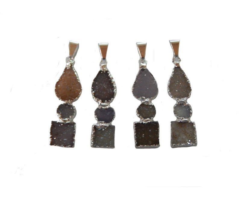 Triple Druzy Pendant with Round, Teardrop, and Square Druzy Pendant with Electroplated Silver Edge