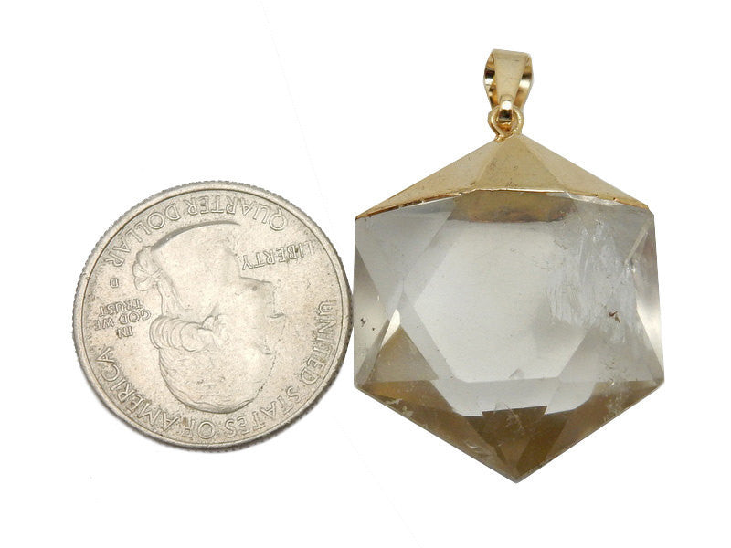 Crystal Quartz Hexagon Pendant with Electroplated 24k Gold Cap. (S52B12b-15)