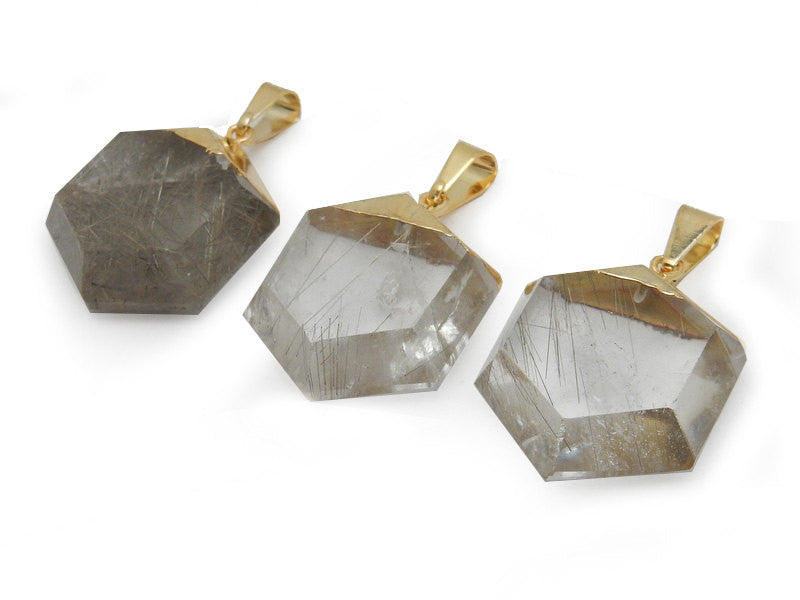 Rutilated Crystal Quartz Hexagon Pendant with Electroplated 24k Gold Cap. (S52B12b-16)