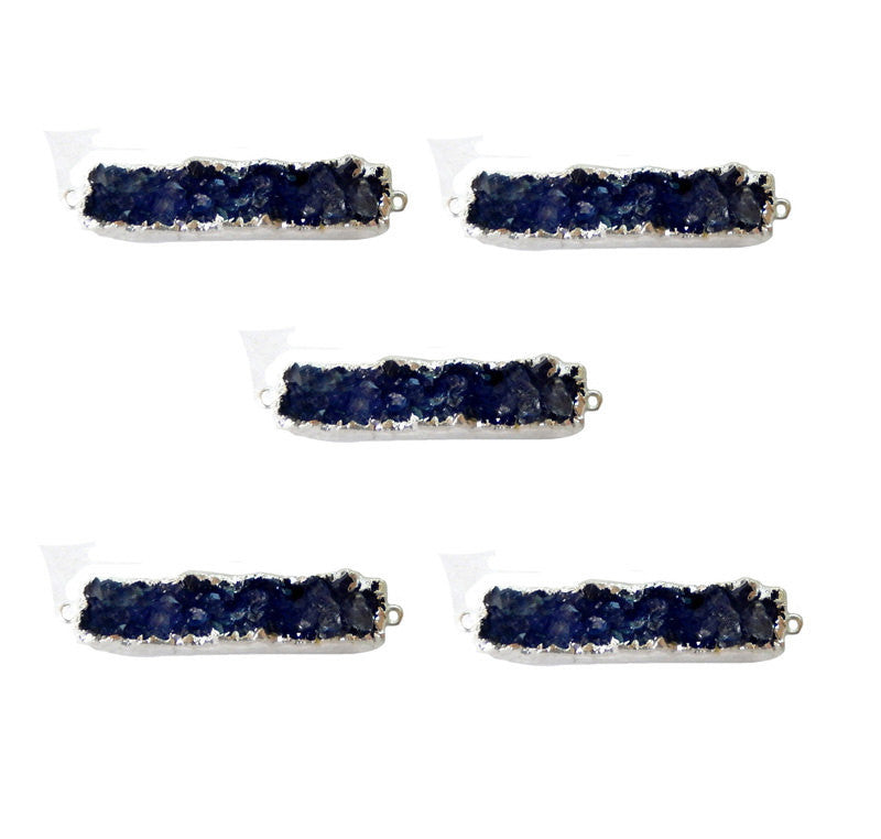 Blue Toned Druzy Rectangle Bar Double Bail Pendant with Silver Electroplated Edge (S1B8-09)