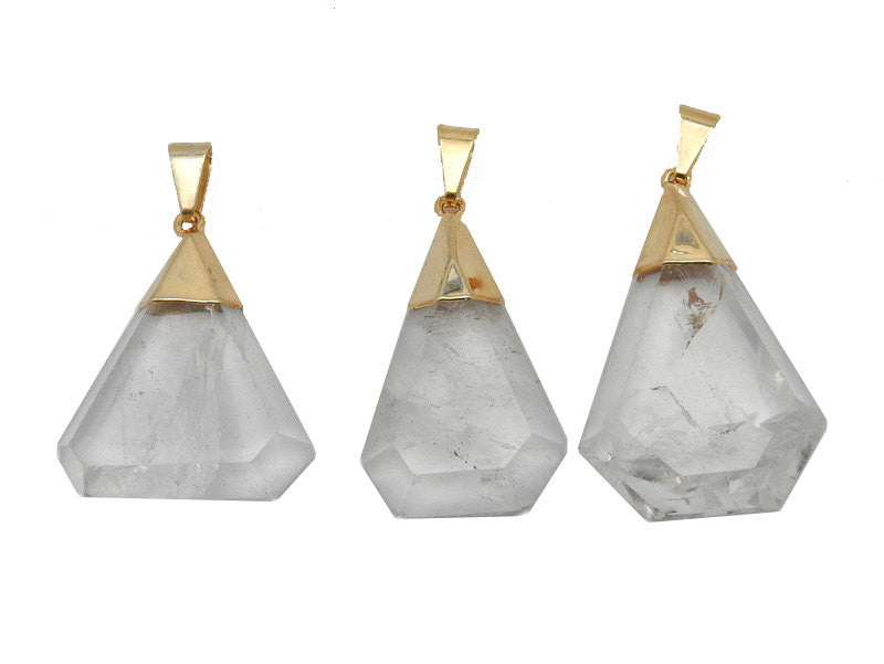Fancy Crystal Quartz Pentagon Pendant with24k Electroplated Gold And Plated Cap. (S52B12b-18)
