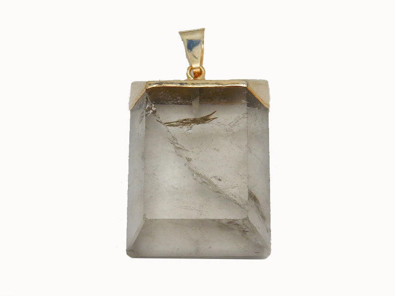 Smokey Quartz Rectangle Pillow Pendant with Electroplated 24k Gold Cap and Bail (S52B12b-19)