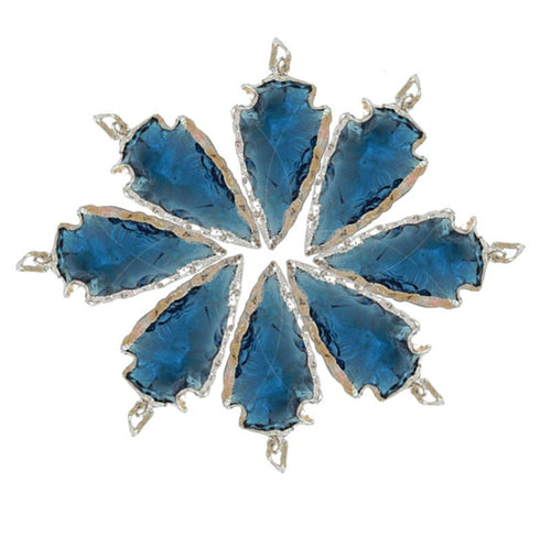 Blue Glass Arrowhead Pendant Charm edged in Electroplated Silver